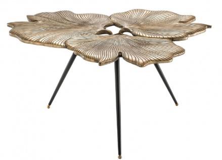 Casa Padrino Designer Beistelltisch Vintage Messingfarben / Schwarz / Gold 75 x 64 x H. 38, 5 cm - Aluminium Tisch im Ginkgoblätter Design - Luxus Qualität