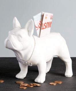 Designer Spardose Bulli weiss Höhe 15 cm, Länge 19 cm - edle Skulptur aus Keramik
