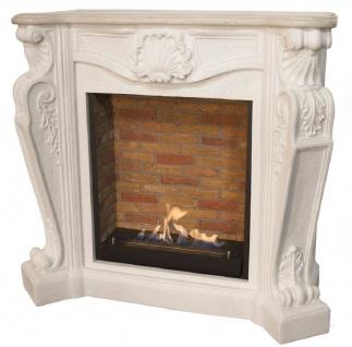 Casa Padrino Jugendstil Kamin mit Biobrenner Weiß 127, 5 x 48, 5 x H. 111 cm - Prunkvoller Bioethanolkamin mit edlen Verzierungen und Steindekor - Luxus Qualität