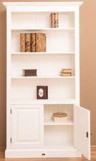 Casa Padrino Landhausstil Bücherschrank / Regalschrank Weiß 110 x 39 x H. 210 cm - Wohnzimmerschrank mit 2 Türen - Vorschau 5