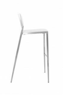 Casa Padrino Luxus Designer Barstuhl Weiß mit Rückenlehne, Barhocker, gepolstert - Barhocker - Vorschau 2