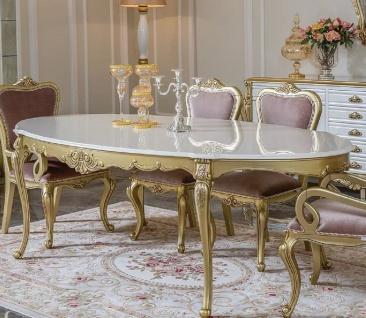 Casa Padrino Luxus Barock Esstisch Weiß / Gold - Ovaler Massivholz Esszimmertisch - Prunkvolle Barock Esszimmer Möbel