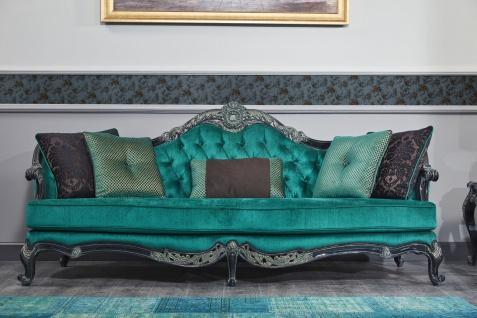 Casa Padrino Luxus Barock Chesterfield Sofa Grün / Schwarz / Gold 240 x 88 x H. 105 cm - Wohnzimmermöbel im Barockstil