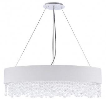 Casa Padrino Kristall Hängeleuchte Silber / Weiß 72 x 27 x H. 21 cm - Außergewöhnliche ovale Leuchte mit Metallrahmen und Stoffbezug