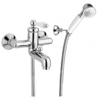 Luxus Aufputz-Einhebelmischer mit Duplex Brause Silber / Weiß - Luxus Badezimmer Badewannen Dusch Armatur