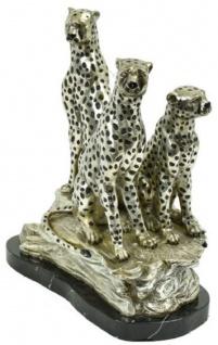 Casa Padrino Luxus Bronze Skulptur 3 sitzende Geparden Silber / Schwarz 36 x 24 x H. 41 cm - Versilberte Bronzefigur mit Marmorsockel