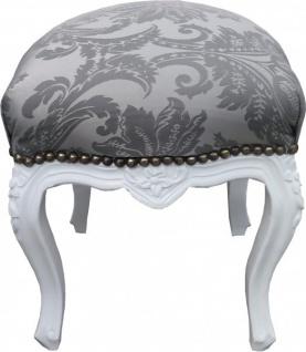 Casa Padrino Barock Sitzhocker Grau Muster / Weiß Höhe 40 cm, Breite 35 cm - Barock Möbel
