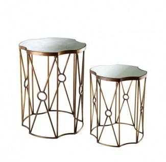 Casa Padrino Luxus Art Deco Designer Beistelltisch 2er Set Antik Messing - Hotel Tisch Möbel