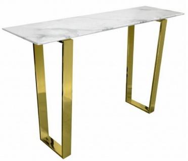 Casa Padrino Luxus Konsole Weiß / Gold 122 x 36 x H. 76 cm - Moderner Konsolentisch mit synthetischer Marmorplatte und Stahlbeinen - Wohnzimmer Möbel