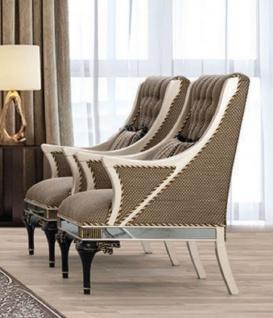 Casa Padrino Luxus Barock Sessel Braun / Weiß / Schwarz / Gold - Prunkvoller Wohnzimmer Sessel mit dekorativem Kissen - Barock Wohnzimmer Möbel