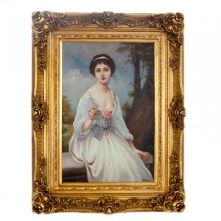 Handgemaltes Barock Öl Gemälde Damen Porträt Madame 3 Gold Prunk Rahmen 130 x 100 x 10 cm - Massives Material