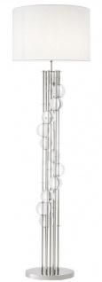 Casa Padrino Luxus Stehleuchte Silber / Weiß Ø 48 x H. 176 cm - Designer Lampe mit Kristallglas - Luxus Wohnzimmer Lampe