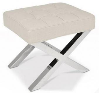 Casa Padrino Luxus Chesterfield Hocker Beige / Silber 60 x 50 x H. 47 cm - Wohnzimmermöbel - Luxus Kollektion