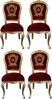 Pompöös by Casa Padrino Luxus Barock Esszimmerstühle mit Krone Bordeauxrot / Gold - Pompööse Barock Stühle designed by Harald Glööckler - 4 Esszimmerstühle