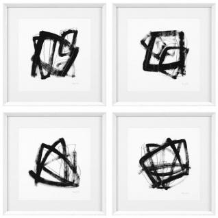 Casa Padrino Designer Deko Bilder 4er Set Schwarz / Weiß 58 x H. 58 cm - Luxus Kunstdrucke