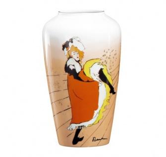 """Handgearbeitete Vase aus Porzellan mit einem Motiv von T. Lautrec """" Jane Avril"""", Höhe 19 cm - feinste Qualität aus der Tettau Porzellanfabrik - wunderschöne Vase"""