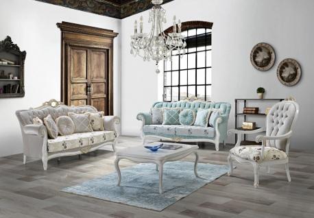 Casa Padrino Barock Wohnzimmer Set Hellgrün / Hellgrau / Weiß / Gold - 2 Sofas & 2 Sessel & 1 Couchtisch - Wohnzimmer Möbel im Barockstil