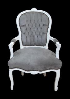 Casa Padrino Barock Salon Stuhl Grau/Weiss - Mod1