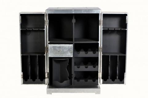 Casa Padrino Luxus Aluminium Wein Schrank, Koffer Design Weinschrank - Vintage Flieger Möbel