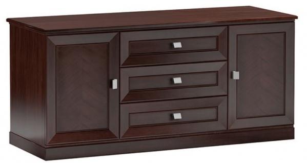 Casa Padrino Luxus Sideboard mit 2 Türen und 3 Schubladen Dunkelbraun / Silber 135 x 44, 2 x H. 85, 5 cm - Wohnzimmermöbel - Vorschau