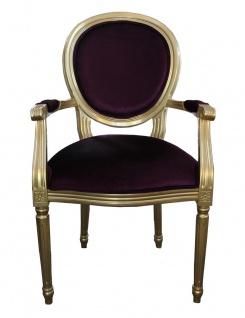 Casa Padrino Barock Esszimmer Stuhl mit Armlehne Lila / Gold - Designer Stuhl - Luxus Qualität