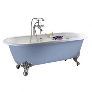 Casa Padrino Luxus Gusseisen Badewanne Hellblau-grau / Weiß 154 cm - Gebogene freistehende Badewanne - Barock & Jugendstil Badezimmer Möbel