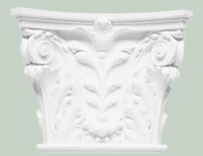 Casa Padrino Barock Zierelement Säulen Kopfteil Weiß 42, 5 x 10, 5 x H. 35 cm - Wanddeko im Barockstil