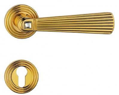 Casa Padrino Luxus Türklinken Set mit Swarovski Kristallglas Gold 16 x H. 5, 4 cm - Türgriffe im aristokratischen Stil