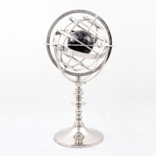 Casa Padrino Luxus Armillarkugel Globus Nickel Finish Silber - Luxus Kollektion - Art Deco