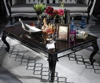 Casa Padrino Luxus Barock Couchtisch Schwarz / Braun 140 x 90 x H. 46 cm - Edler Massivholz Wohnzimmertisch mit Glasplatte und Spiegelglas - Luxus Qualität - Made in Italy