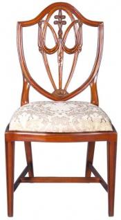 Casa Padrino Luxus Art Deco Esszimmerstuhl Braun / Gold 58, 4 x 50, 8 x H. 99, 1 cm - Eleganter Massivholz Stuhl mit Muster - Art Deco Esszimmer Möbel