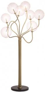 Casa Padrino Luxus Halogen Stehleuchte Antik Messingfarben / Schwarz Ø 70 x H. 170 cm - Dimmbare Metall Stehlampe mit runden Glas Lampenschirmen und Marmorfuß - Luxus Kollektion