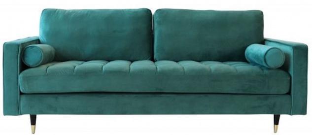 Casa Padrino Wohnzimmer Samt Sofa mit Kissen Smaragdgrün / Schwarz / Messing 225 x 95 x H. 90 cm - Luxus Wohnzimmer Möbel