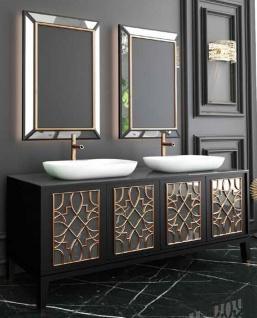 Casa Padrino Luxus Badezimmer Set Schwarz / Gold / Weiß - 1 Waschtisch mit 4 Türen und 2 Waschbecken und 2 Wandspiegel - Luxus Qualität
