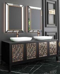 Casa Padrino Luxus Badezimmer Set Schwarz / Gold / Weiß - 1 Waschtisch mit 4 Türen und 2 Waschbecken und 2 Wandspiegel