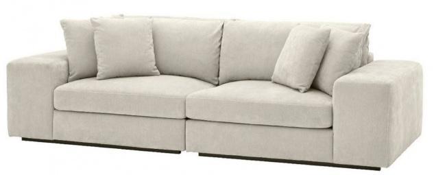 Casa Padrino Luxus Wohnzimmer Sofa mit Kissen Sandfarben / Schwarz 280 x 120 x H. 90 cm - Luxus Qualität