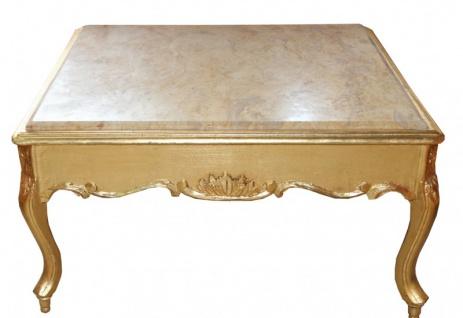 Casa Padrino Barock Couchtisch Gold mit Marmorplatte 80 x 80 cm- Antik Stil