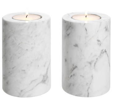 Casa Padrino Luxus Marmor Teelichthalter Set Weiß Ø 10 x H. 15 cm - Luxus Qualität