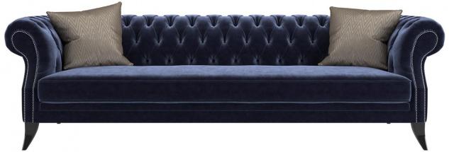 Casa Padrino Luxus Chesterfield Samt Sofa Lila / Schwarz / Silber 250 x 100 x H. 80 cm - Luxus Qualität - Chesterfield Wohnzimmer Möbel