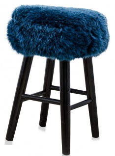 Casa Padrino Luxus Sitzhocker Blau / Schwarz Ø 40 x H. 57 cm - Hocker mit Schafsfell