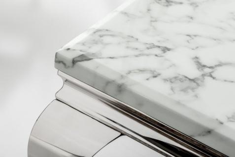 Casa Padrino Designer Konsole mit Marmor 140 cm Weiss / Grau - Modern Barock - Vorschau 2