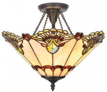 Casa Padrino Luxus Tiffany Deckenleuchte Mehrfarbig Ø 40 x H. 41 cm - Hangefertigte Deckenlampe aus 264 Teilen