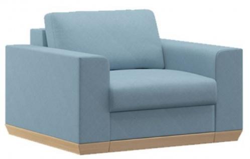 Casa Padrino Wohnzimmer Sessel Hellblau / Naturfarben 105 x 100 x H. 80 cm - Moderne Wohnzimmer Möbel