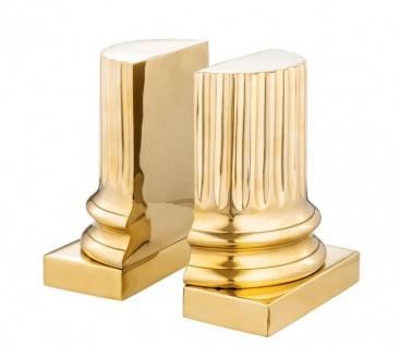 Casa Padrino Luxus Bücherstützen Set Säule Gold - Messing poliert - Bücherstütze - Book End - Luxus Kollektion - Art Deco