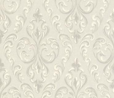 Casa Padrino Barock Textiltapete Creme / Grau / Weiß 10, 05 x 0, 53 m - Hochwertige Wohnzimmer Tapete
