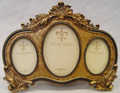 Casa Padrino Barock 3er Bilderrahmen Antik Gold / Schwarz 26 x H. 20 cm - Kunstharz Bilderrahmen - Deko Accessoires