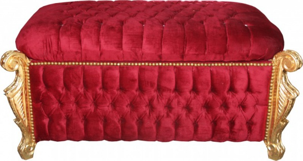 Casa Padrino Barock Sitzbank (Truhe) Bordeaux Rot/Gold mit Bling Bling Glitzersteine -Antik Truhe