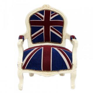 Casa Padrino Barock Kinder Stuhl Union Jack / Creme - Kindermöbel