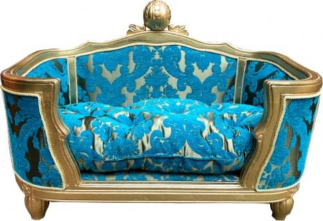 Pompöös by Casa Padrino Luxus Barock Hunde & Katzenbett Deluxe Türkis Bouquet Muster / Gold von Harald Glööckler