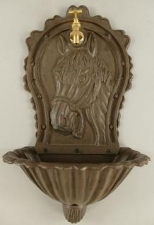 Casa Padrino Jugendstil Wandbrunnen Rustikal Braun 32 x 20 x H. 60 cm - Nostalgischer Gartendeko Brunnen mit Wasserhahn - Garten Accessoires